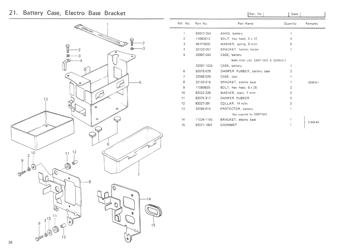 Kz650info B1 Parts Diagram Exploded Of A Battery 1977 Kz650 Diagrams Air Cleaner Case Electro Base Bracket