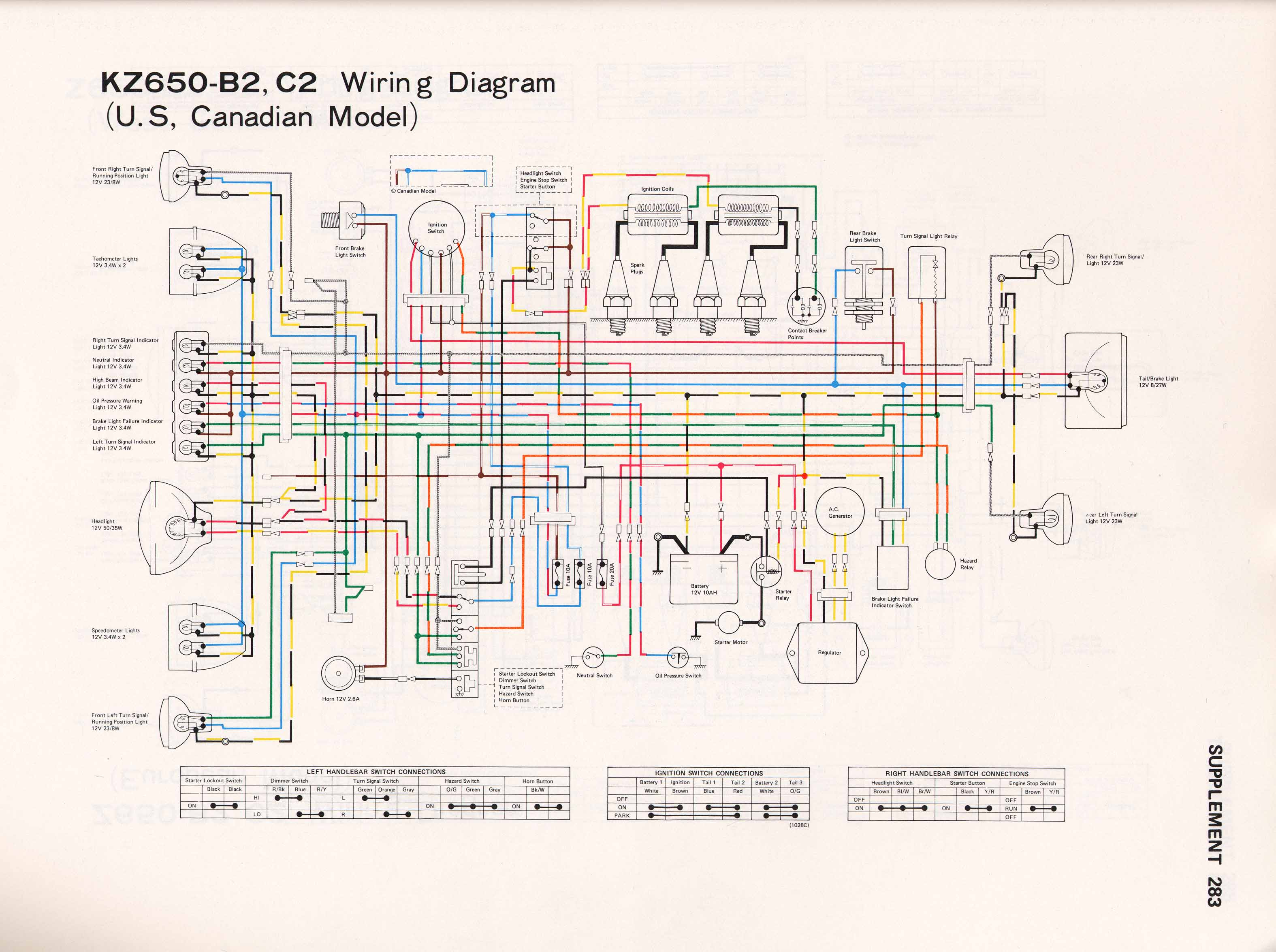 Kz650info Wiring Diagrams Switched Electrical Schematic Diagram Kz650 B1 B2